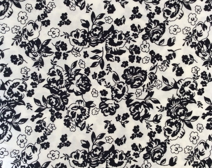 High quality cotton poplin dyed in Japan with Black and white floral print