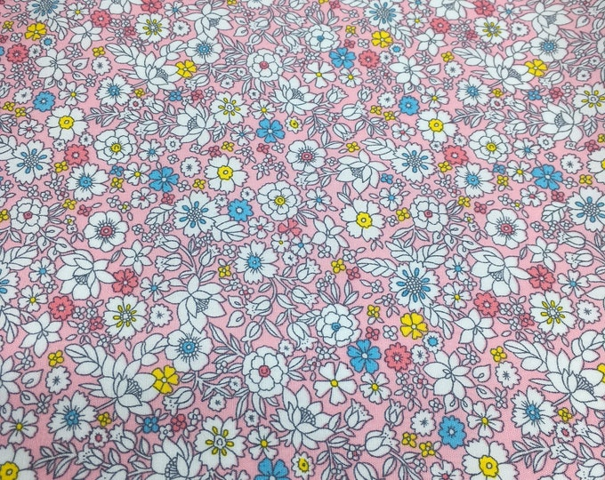 High quality cotton poplin with floral on pink, Heidi