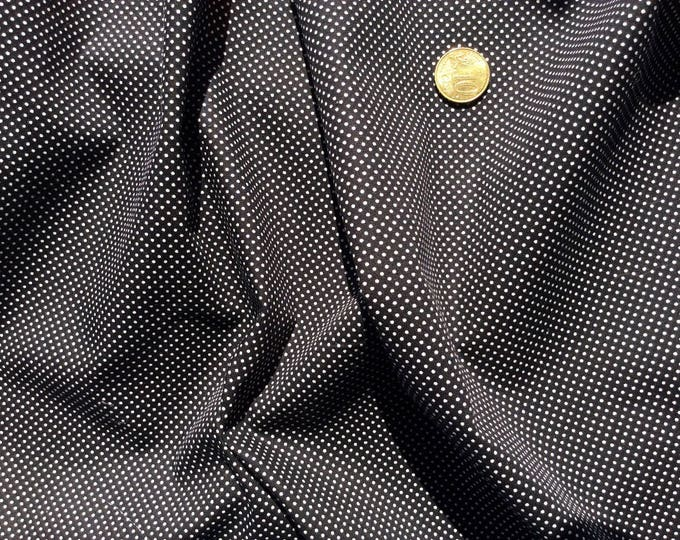 High quality cotton poplin, white polka dots on black