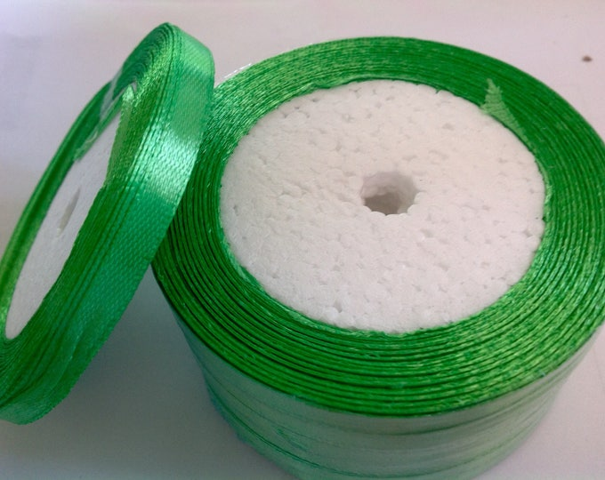 Roll of 22.5m of satin ribbon single face, green jade no 54
