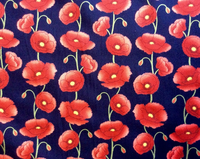 High quality cotton poplin, poppies on navy
