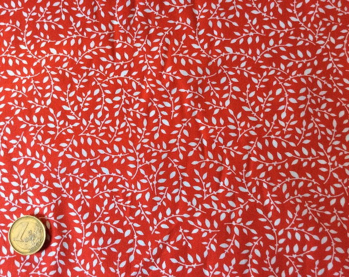 High quality cotton poplin, red and white leaf print
