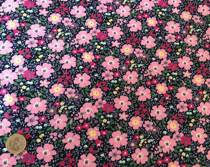 High quality cotton poplin dyed in Japan with flowers