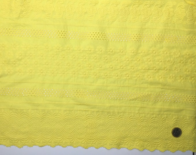 Yellow embroidery anglaise, eyelet or broderie anglais cotton fabric, scalloped edges