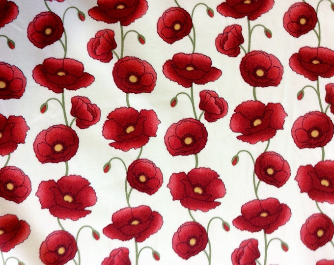 High quality cotton poplin, poppies on off white