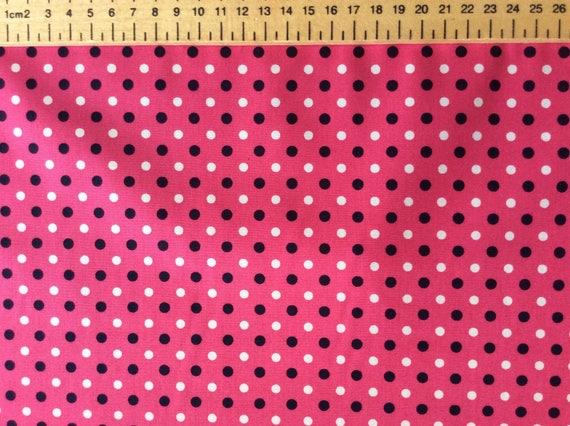 High quality cotton poplin, polka dots on hot pink