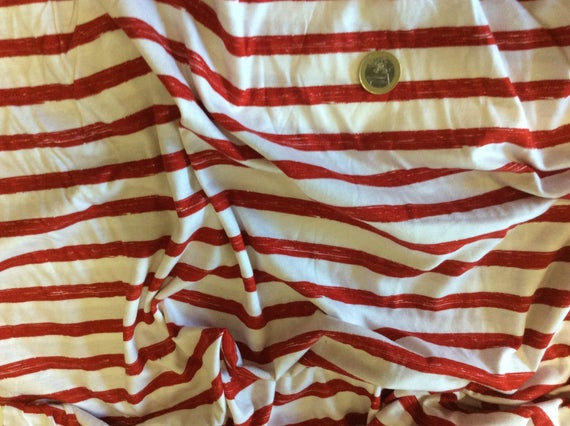 Red and white striped cotton jersey