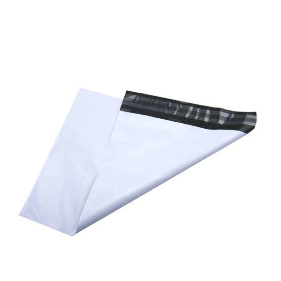 """10 white sealing bags, 37cmX46 (approx 15""""X18"""")  with adhesive adress labels"""