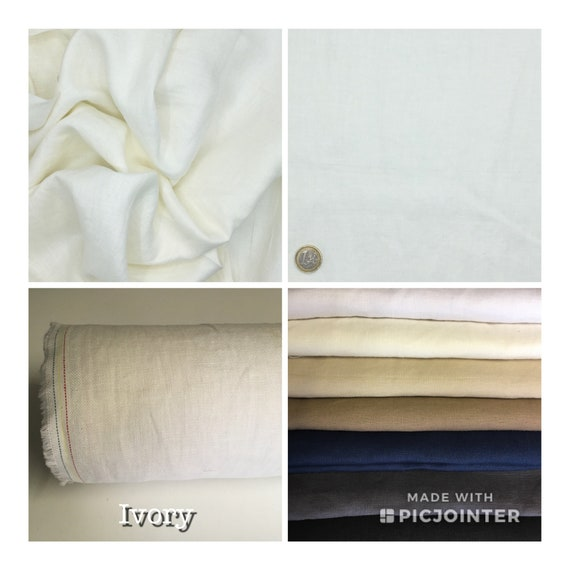 Heavy, washed linen, perfect for clothing and home accessories, light ivory