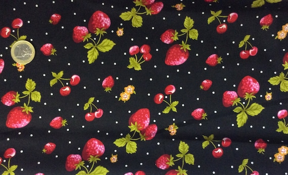 High quality cotton poplin dyed in Japan, cherry and strawberry print on black