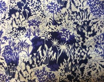 Tana lawn fabric from Liberty of London, Paper garden indigo.
