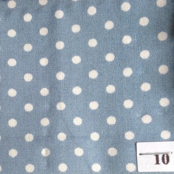 High quality cotton poplin, white polka dots on pigeon blue no10