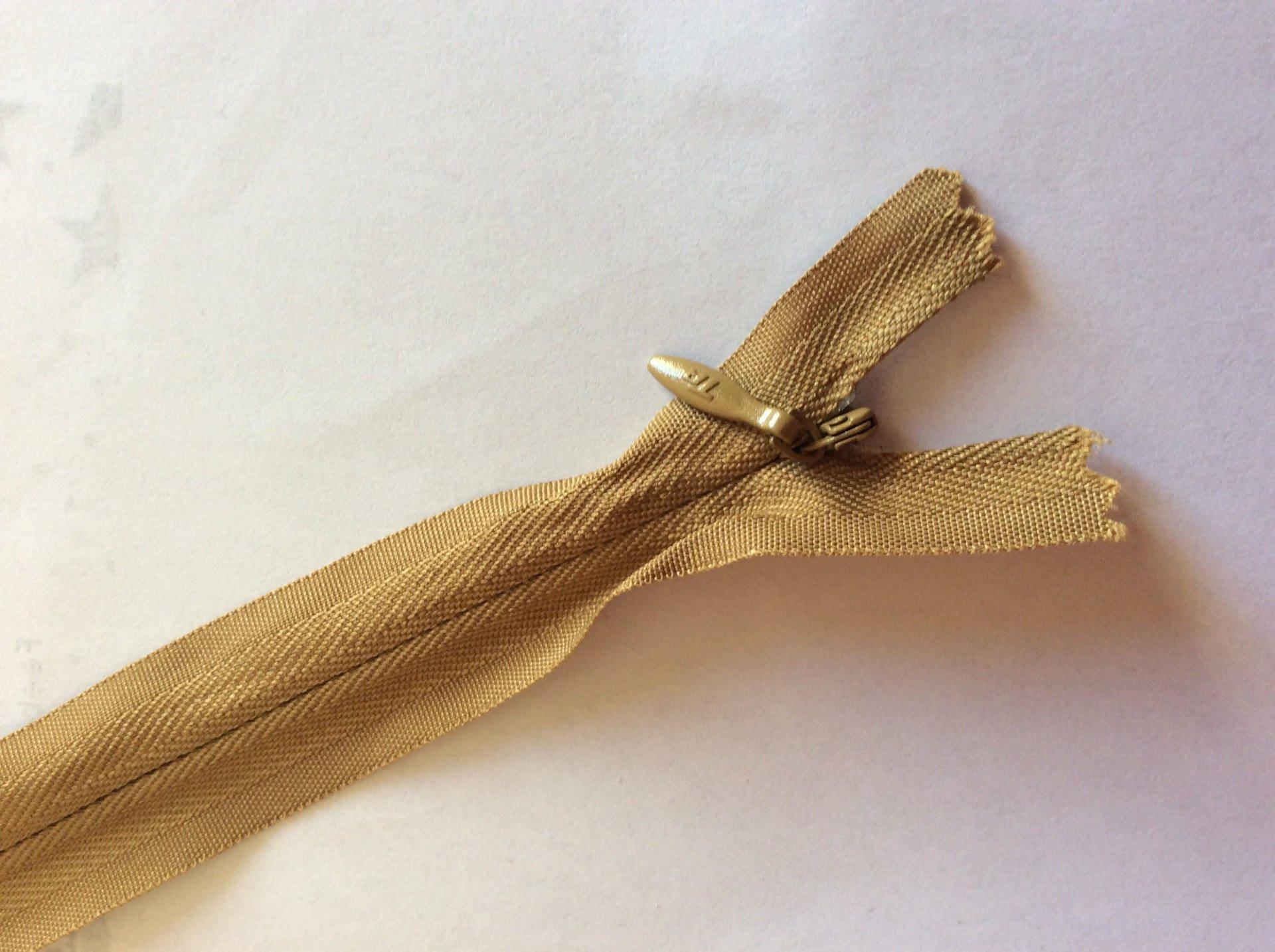 fermeture eclair invisible marron clair 60cm pour robes linge etsy. Black Bedroom Furniture Sets. Home Design Ideas