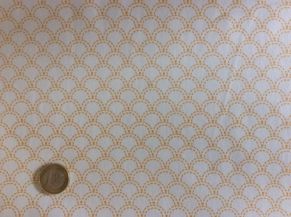 High quality cotton poplin printed in Japan, Japanese white/yellow print