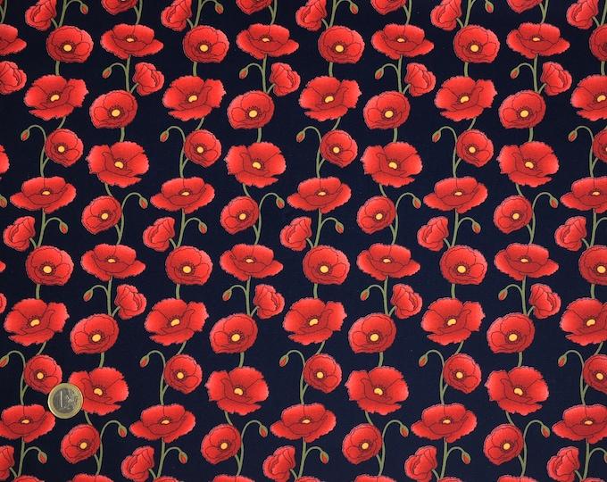 High quality cotton poplin, poppies on navy
