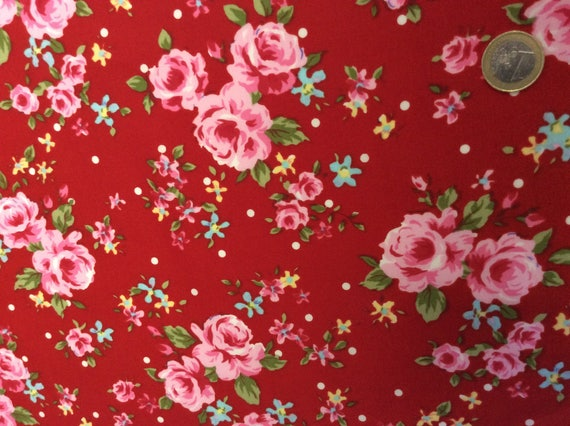 High quality cotton poplin printed in Japan, roses