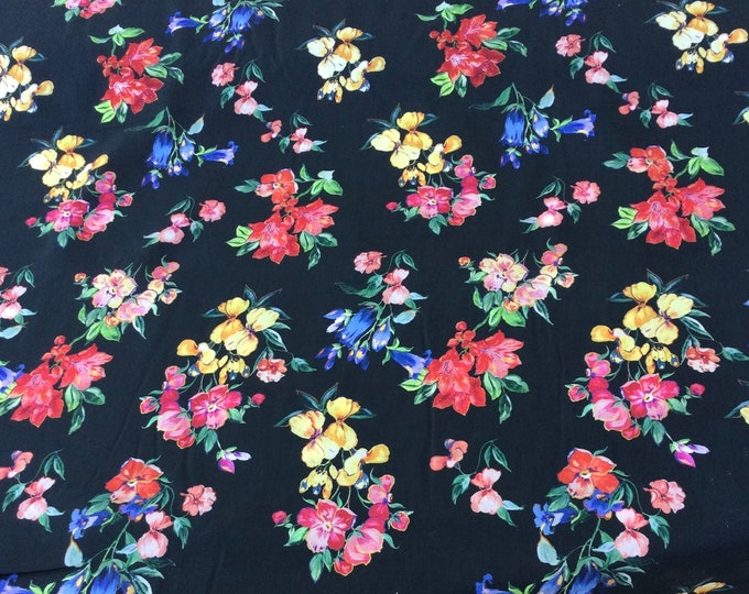 English Pima lawn cotton fabric, floral on black