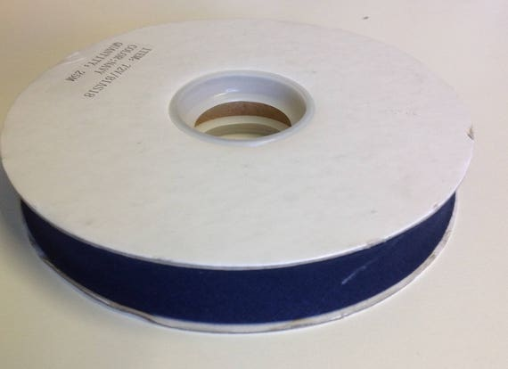 Roll of 25m of polycotton bias ribbon 18mm, navy blue
