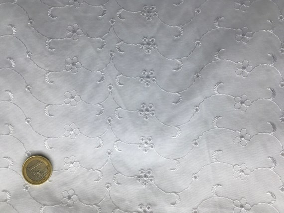 High quality cotton poplin dyed in Japan with embroidery anglaise