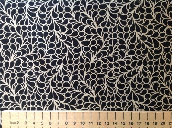 High quality cotton poplin, abstract beige and black print