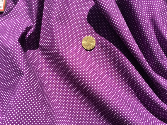 High quality cotton poplin printed in Japan, purple polka dots
