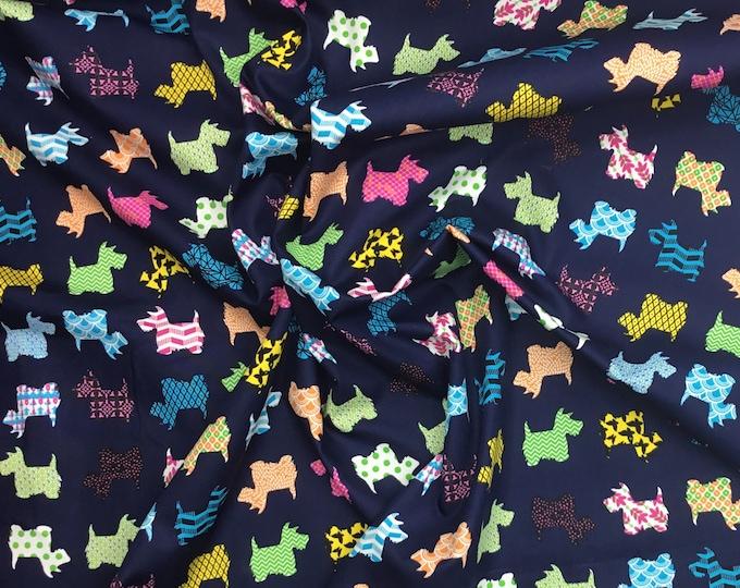 High quality cotton poplin. Fox terrier dogs on navy