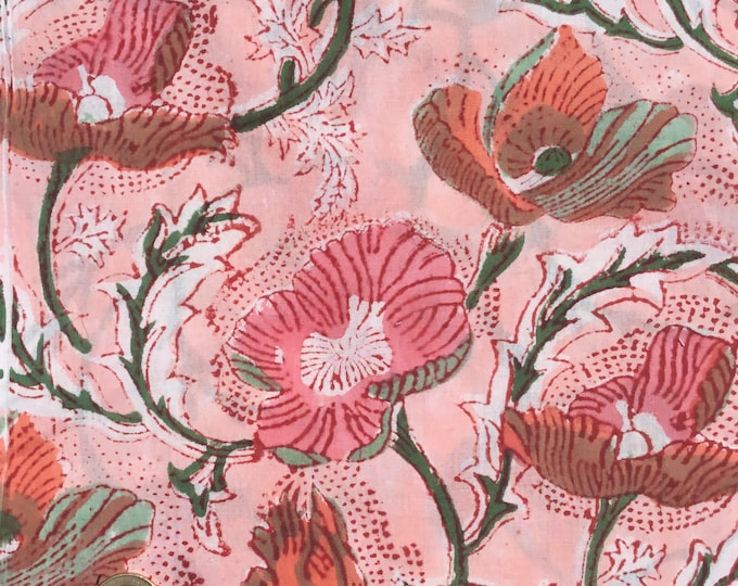 Indian block printed cotton voile, hand made. Peach Jaipur
