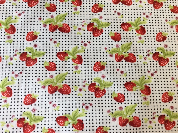 High quality cotton poplin dyed in Japan, strawberry print