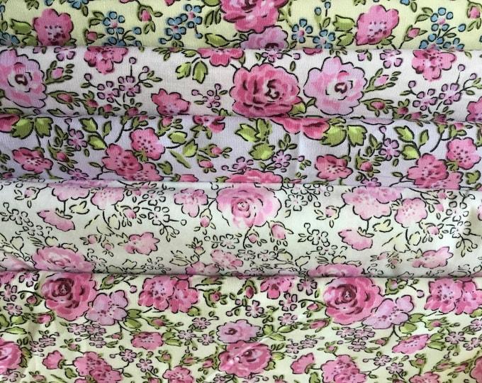 5pc, 50cm*1m12, total 2m50 floral cotton poplin