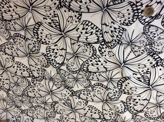 High quality cotton poplin, black butterflies