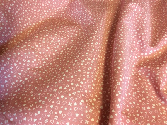 High quality cotton poplin dyed in Japan with hearts, old pink