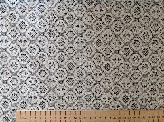 High quality cotton poplin, black and off white wallpaper print