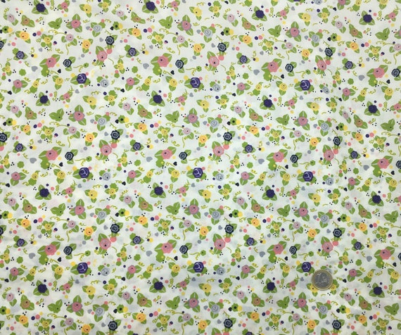 English Pima lawn cotton fabric, priced per 25cm. Flowers on off white