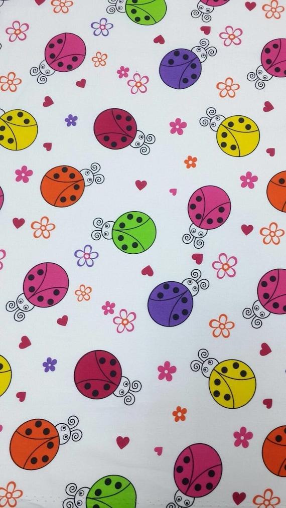 High quality cotton poplin, ladybugs on white