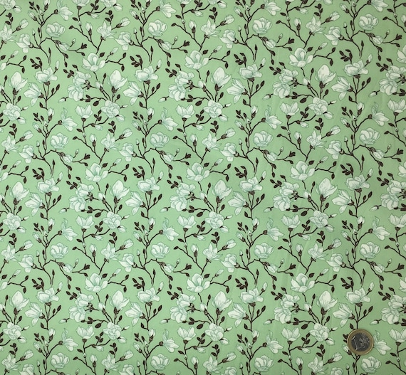 High quality cotton poplin dyed in Japan with flowers and foliage print