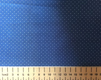 High quality cotton poplin, 1mm polka dots on storm blue