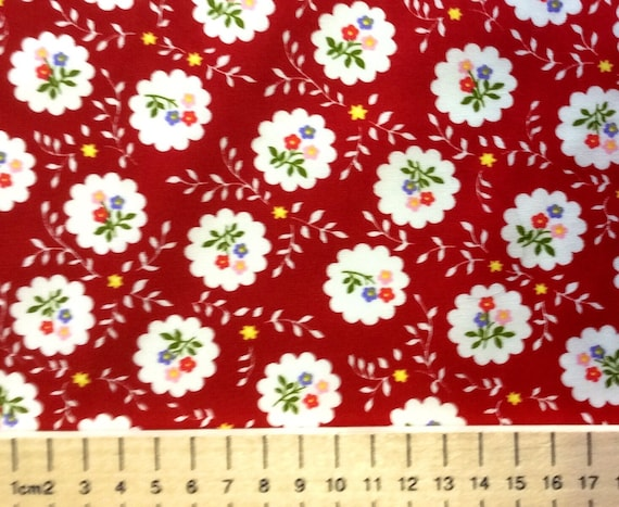 High quality cotton poplin printed in Japan, red vintage floral print