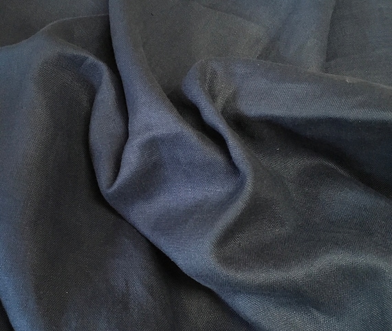 Heavy, washed linen, perfect for clothing and home accessories, dark blue