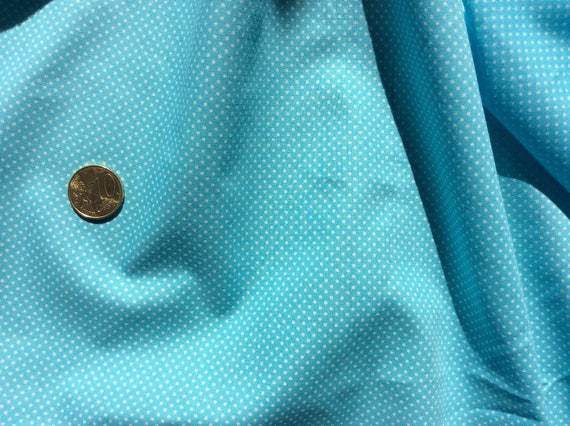 High quality cotton poplin printed in Japan, 2mm turquoise polka dots
