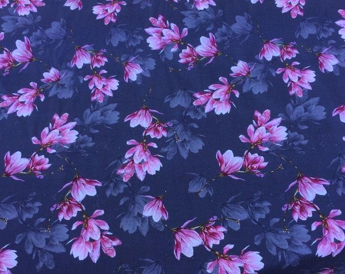 English Pima lawn cotton fabric, floral on grey