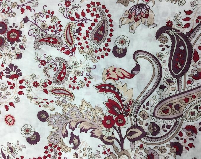 English Pima lawn cotton fabric, Bordeaux paisley