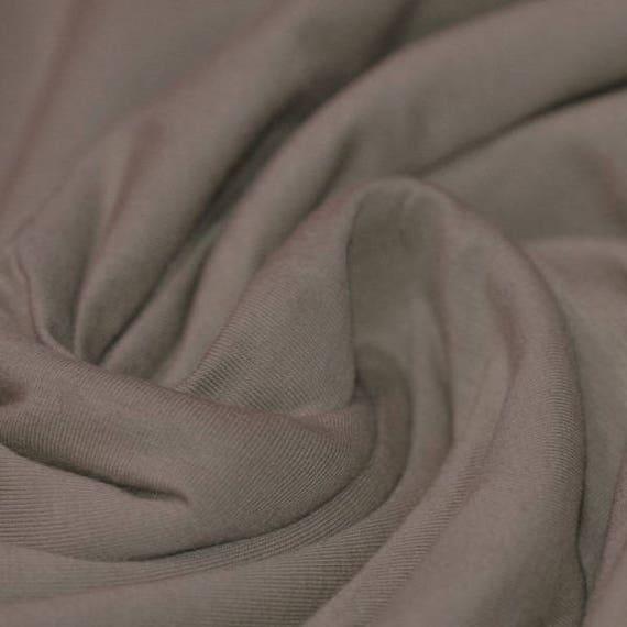 Dark beige cotton/viscose jersey fabric
