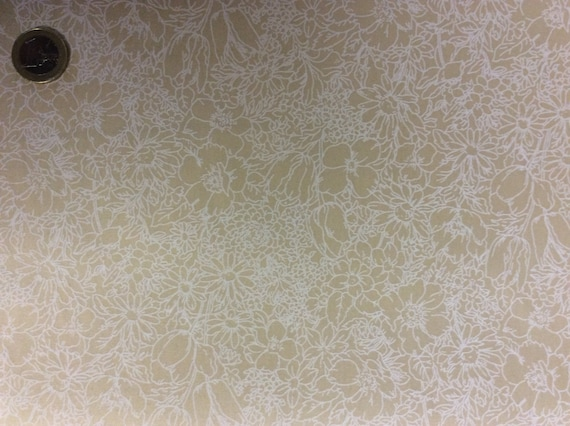 High quality cotton poplin dyed in Japan, beige floral print
