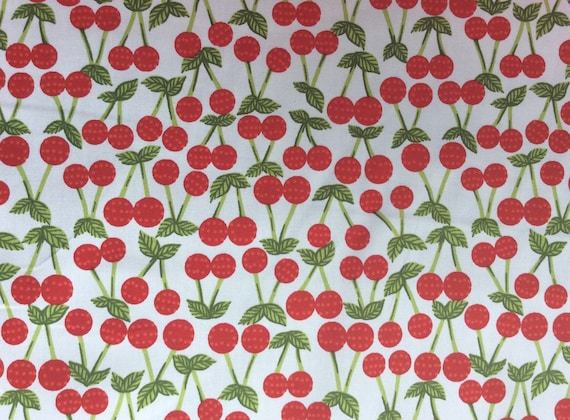 High quality cotton poplin printed in Japan, cherries on white