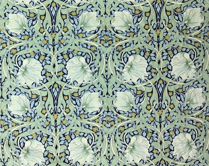 English Pima lawn cotton fabric, Green jugend style flowers