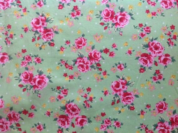 High quality cotton poplin, roses print on green