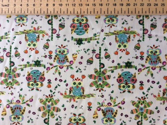 Japanese cotton poplin, sold per 25cm, owl print