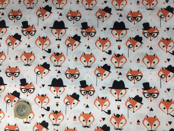 High quality cotton poplin dyed in Japan with foxes
