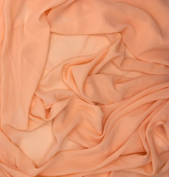 High quality Faux Silk Chiffon, very close to genuine silk chiffon. Color Peach No26