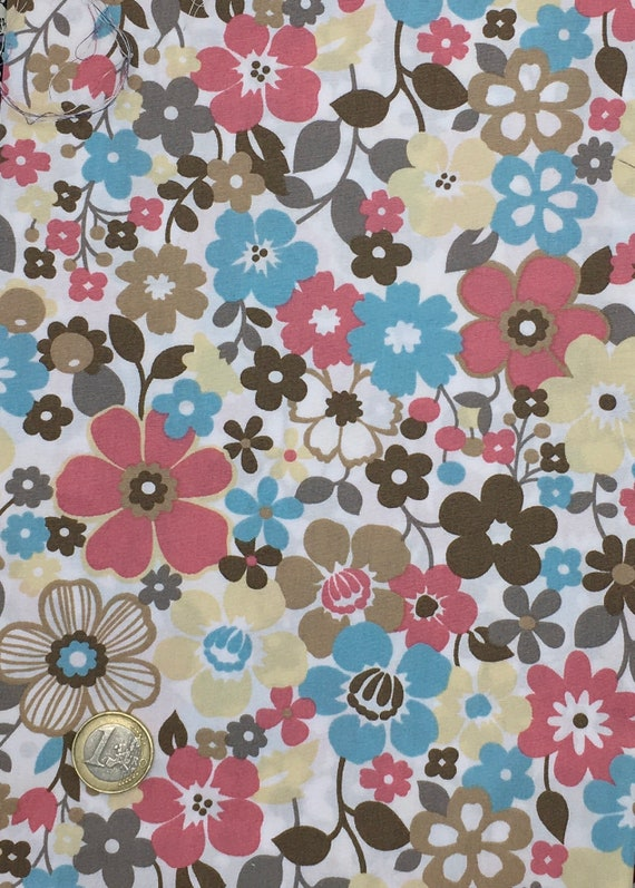 High quality cotton poplin dyed in Japan with vintage floral print